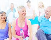 Group of Mature Diverse People Smiling While Exercising