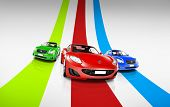 Colorful 3D Cars on Track