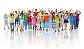 stock photo of children group  - Large Group of Children Celebrating - JPG