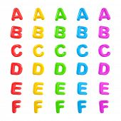 Colorful Alphabet 3D Balloons A-F