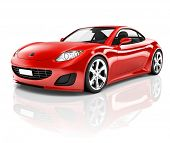 image of three-dimensional-shape  - 3D Red Sports Car - JPG