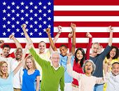 Group of Diverse People Celebrating With American Flag