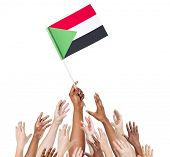 Group Of Multi-Ethnic People Reaching For And Holding The Flag Of Sudan