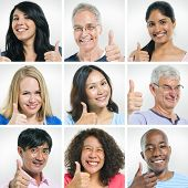 Portraits of Multi-Ethnic People Giving Thumbs Up