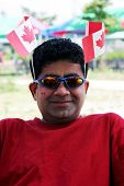 Man Celebrating Canada Day poster
