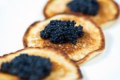 Pancakes With Black Caviar