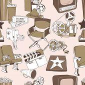 Doodle cinema seamless pattern