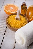 stock photo of salt-bowl  - Orange spa - JPG