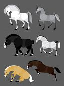 stock photo of shire horse  - Simple flat ilustration of 6 colorful horses - JPG