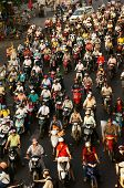 Dense, Crowed Traffic, Motorcycle In Ho Chi Minh City