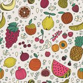 Tasty seamless pattern made of fruits and berries. Lemon, redcurrant, apple, strawberry, banana, gr