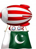 Illustration of a floating balloon with the flag of Pakistan on a white background