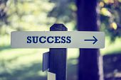 Signboard With The Word Success