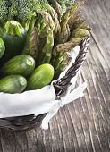 Fresh Green Vegetables In Basket On A Wooden Background.