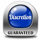discretion guaranteed tep secret and confidential personal information discreet icon or button