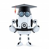 Robot Student With Mortarboard