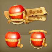 Tape measurement and apple, retro vector icon