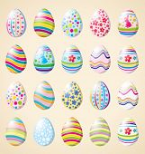 Vector Easter card with eggs of different color, rabbit