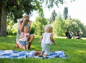 Mid adult mother photographing daughter during picnic in park