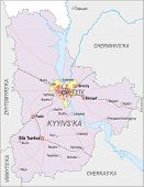 image of kiev  - Map of Kiev Oblast with major cities and roads including city of Kiev - JPG