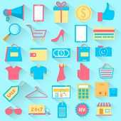 illustration of set of Shopping icons in flat style