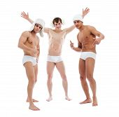 Image of cheerful young guys posing in briefs