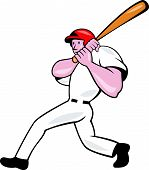 Baseball Player Batting Look Side Isolated Cartoon