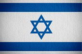 stock photo of israeli flag  - flag of Israel or Israeli banner on paper background - JPG
