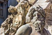italy, rome. piazza navona. four rivers fountain. fontana dei quattro fiumu