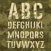 picture of camouflage  - Military stencil alphabet on a camouflage background vector illustration - JPG