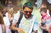Tourist celebrate festival Holi