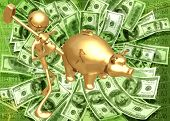 3D Giant Piggy Bank Savings Investment Breaking The Bank Concept