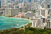 Aerial View Of Honolulu And Waikiki Beach From Diamond Head
