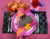 Bright And Colorful Pink, Orange And Black Modern Happy Halloween Table Place Setting With Greeting
