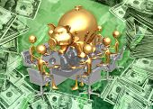 3D Giant Piggy Bank Savings Banking Investment Meeting Concept