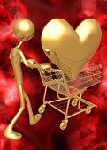 3D Valentine's Day Concept Shopping For Love