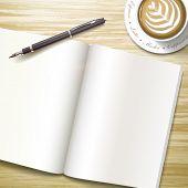 Blank Open Book Over Wooden Desk