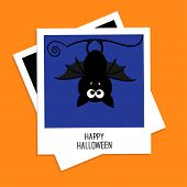 Instant Photo With Bat On Blue Background. Happy Halloween Card. Flat Design