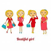 Set of beautiful girls in different roles