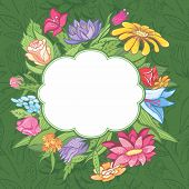Vector bright flower frame