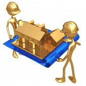 Holding A Blueprint With A Golden House