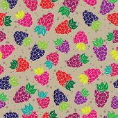 Decorative pattern with wild and garden berries Seamless background