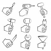 image of habilis  - set of 9 sketch hand holding tools - JPG