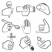 foto of pinky  - set of 9 hand holding objects - JPG