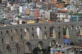 image of aqueduct  - Old Byzantine aqueduct structure in Kavala Greece - JPG
