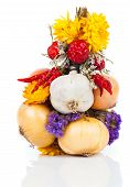 Braided Bunch With Onions, Garlic And Flowers, Over White Background