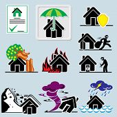 stock photo of possess  - set of vector icons with symbols home insurance - JPG