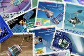 Satellites on stamps