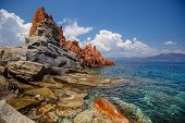 foto of porphyry  - Red rocks and turquoise water of Arbatax, Sardinia
