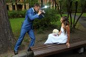 Wedding Photo Shoot, A Newlywed With A Camera, Take Pictures Bride.